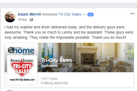 Tri-city Sales is the best testimonial